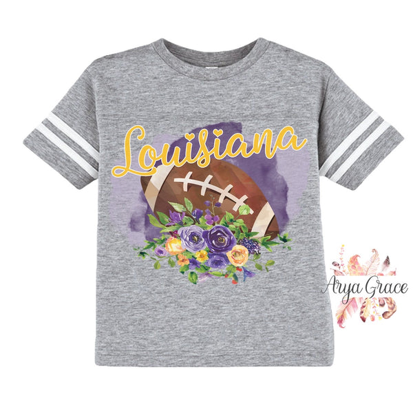 Louisiana Floral Football Graphic Tee {Infant/Toddler/Youth}