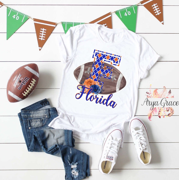 Florida Floral Football Graphic Tee {Adult Sizing}