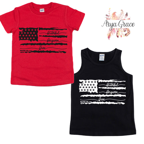 Faithful Forgiven Free Flag Graphic Tee {Infant/Toddler/Youth}