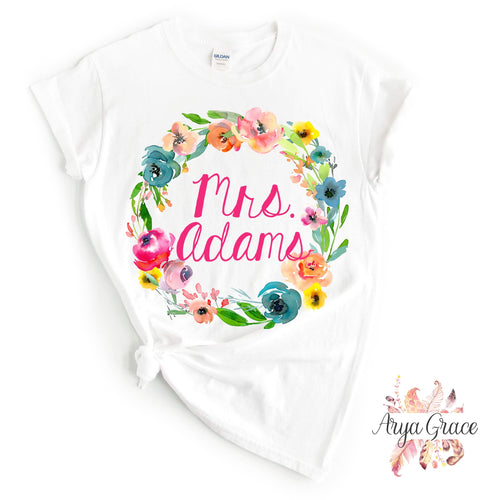 Pastel Floral Wreath Graphic Tee {ADULT}