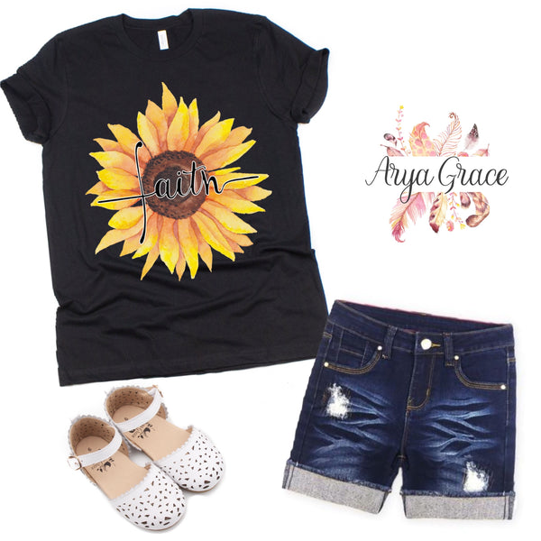 Sunflower Faith Black Graphic Tee {Toddler/Youth Sizing}