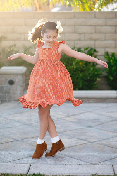 Pumpkin Dot Vintage Audrey Dress Set