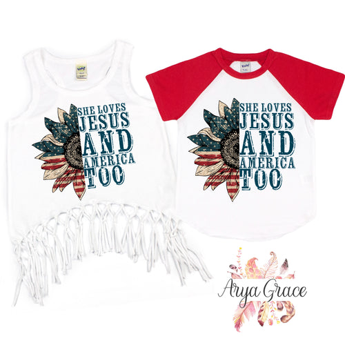 She Loves Jesus and America Too Graphic Tee {Infant/Toddler/Youth}