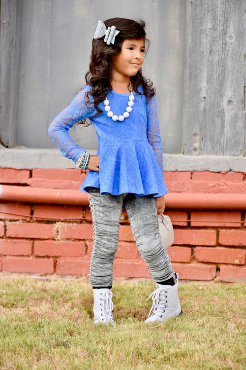 Cornflower Lace Peplum Top