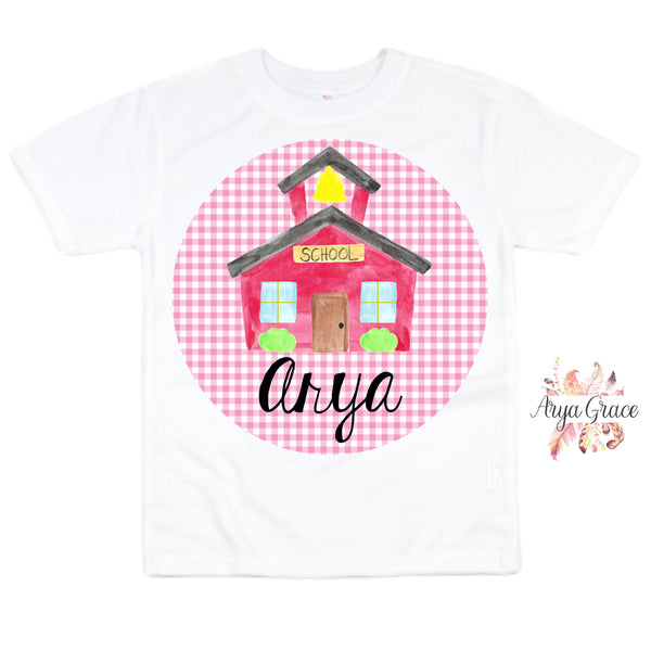 Schoolhouse Pink Gingham Graphic Tee