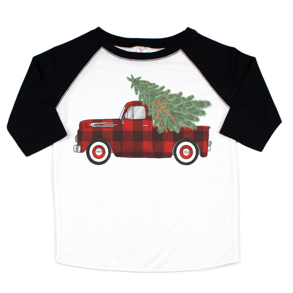 Buffalo Plaid Truck Black Raglan Graphic Tee