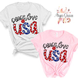 Peace Love USA Graphic Tee {Adult}