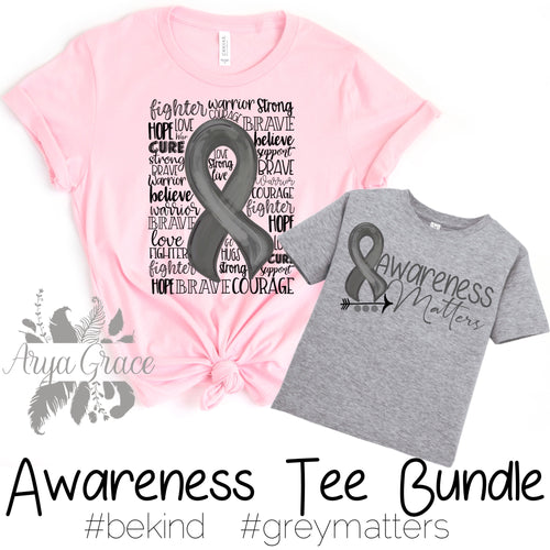 Brain Cancer Awareness Graphic Tee BUNDLE {TWO T-Shirts Infant - Adult}