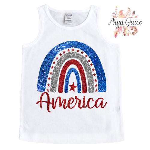 America Glitter Rainbow Graphic Tee {Toddler/Youth}