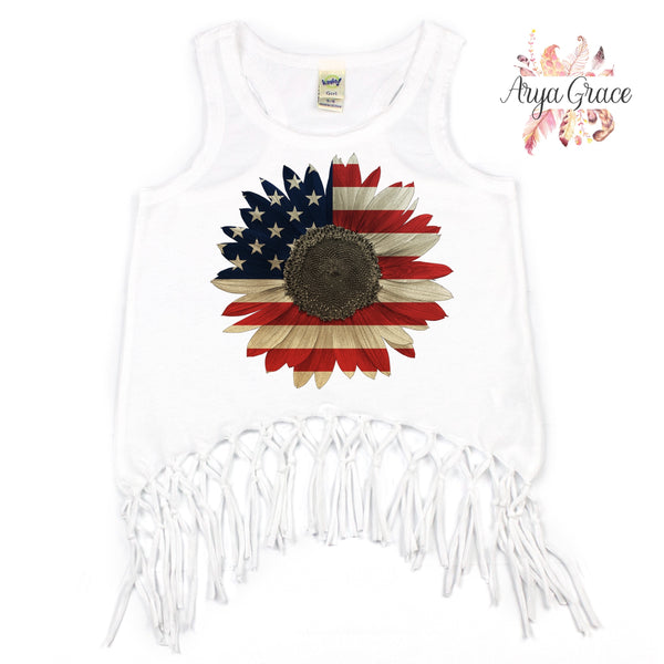 American Flag Sunflower Graphic Tee {Infant/Toddler/Youth}