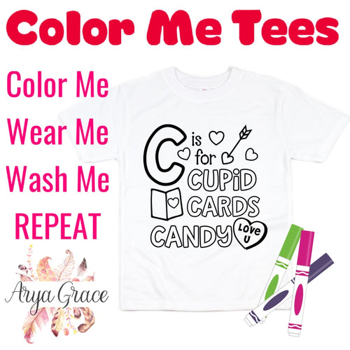 C is for Cupid Cards Candy Color Me💙Graphic Tee {Toddler/Youth Sizing}