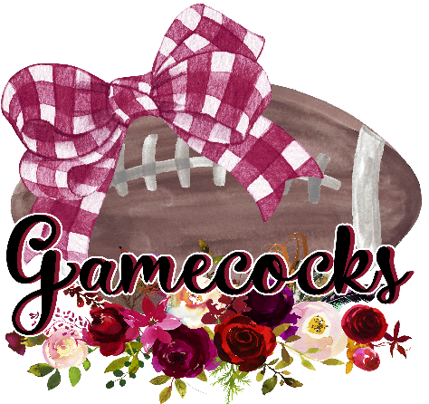 Floral Gamecocks Football Bow Football Style Graphic Tee {Infant/Toddler/Youth}