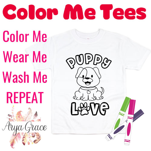 Puppy Love Color Me💙Graphic Tee {Toddler/Youth Sizing}