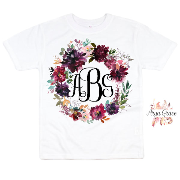Burgundy Floral Wreath Graphic Tee {Toddler/Youth)