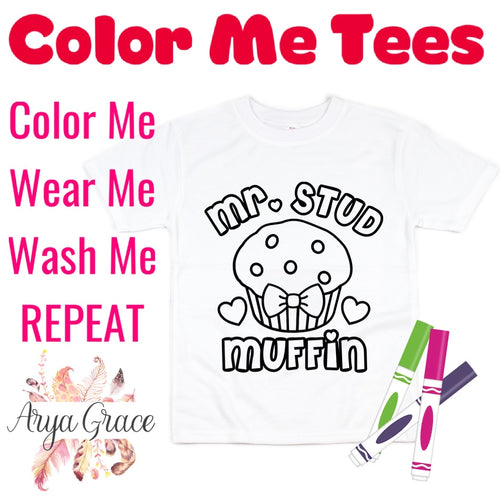 Mr. Stud Muffin Color Me💙Graphic Tee {Toddler/Youth Sizing}