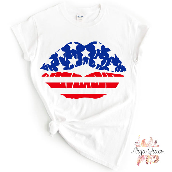 Patriotic Lips Graphic Tee {Adult}