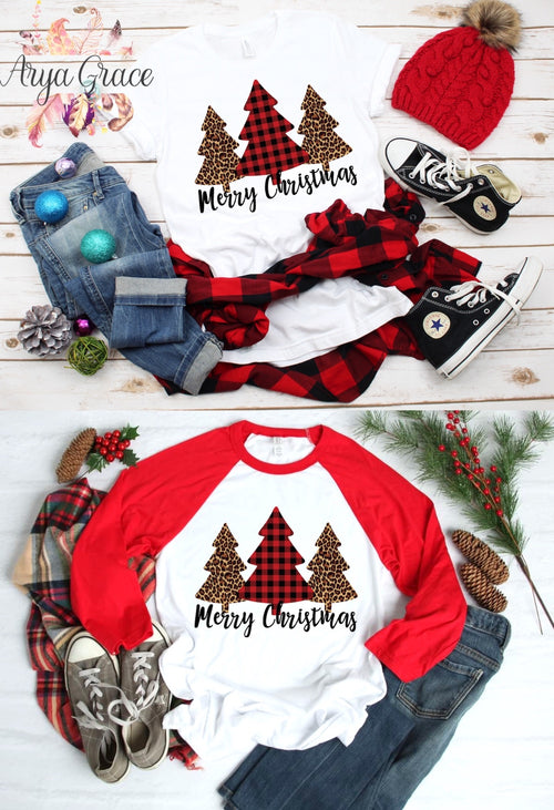 Buffalo Plaid/Cheetah Trees Merry Christmas Graphic Tee