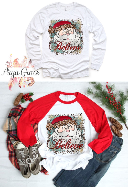 Leopard Santa Believe Graphic Tee
