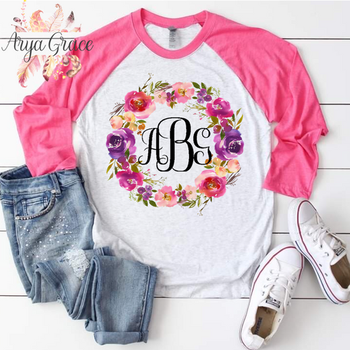 Spring Lush Floral Wreath Graphic Tee {Unisex Adult Sizing}