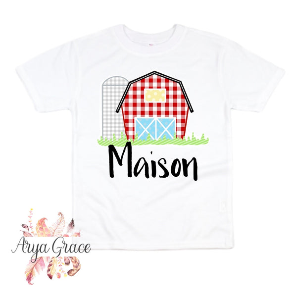 Red Gingham Barn Graphic Tee