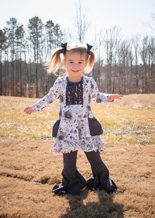 Winter Blooms Long Sleeve Gracie Twirl Dress