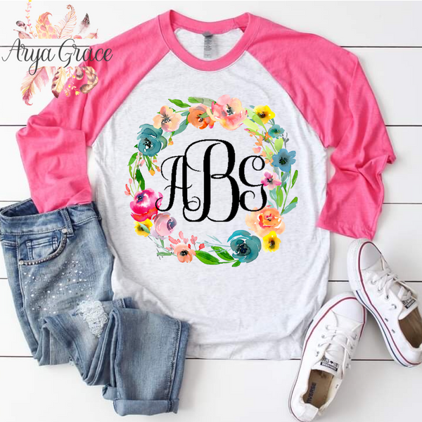 Pastel Floral Wreath Graphic Tee {Unisex Adult Sizing}