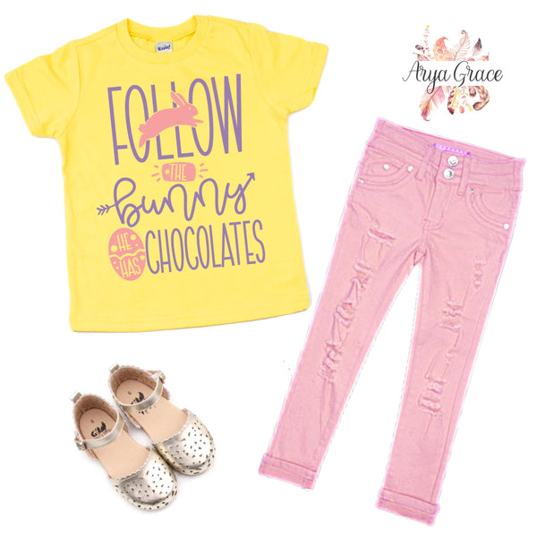 Follow the Bunny he has Chocolates Graphic Tee