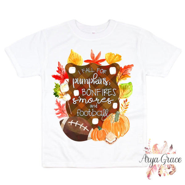 I Love Fall for Pumpkins Bonfires S'Mores & Football Graphic Tee {Infant/Toddler/Youth} Kayla's T-Shirt Party