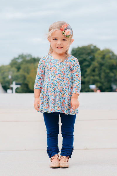 Navy Button Leggings