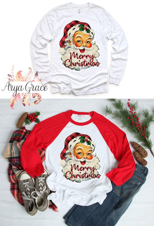 Buffalo Plaid Vintage Santa Graphic Tee
