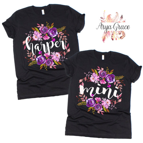Violet Floral Black Graphic Tee {Toddler/Youth Sizing}