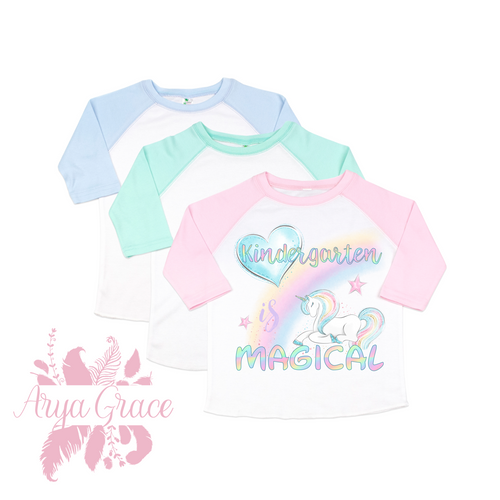 Kindergarten is Magical Raglan Graphic Tee