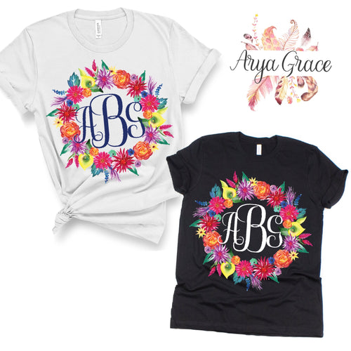 Bright Summer Floral Wreath Graphic Tee {Adult}