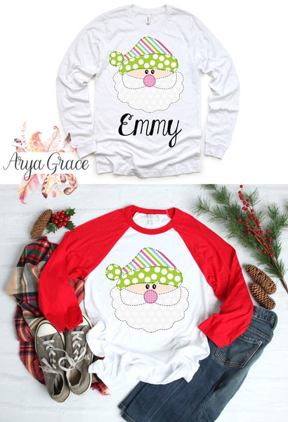 Watercolor Faux Applique Santa Girly Striped Hat Graphic Tee