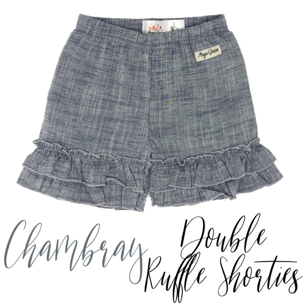 Chambray Double Ruffle Shorties