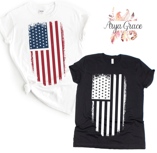 Distressed Flag Graphic Tee {Adult}