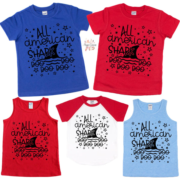 All American Shark Graphic Tee {Infant/Toddler/Youth}