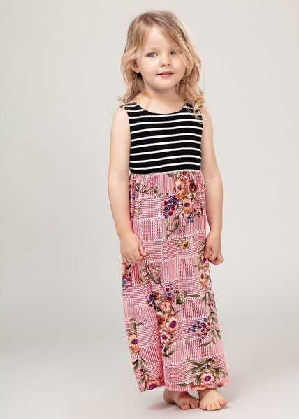 Black and White Stripe/Floral Toddler Maxi Dress