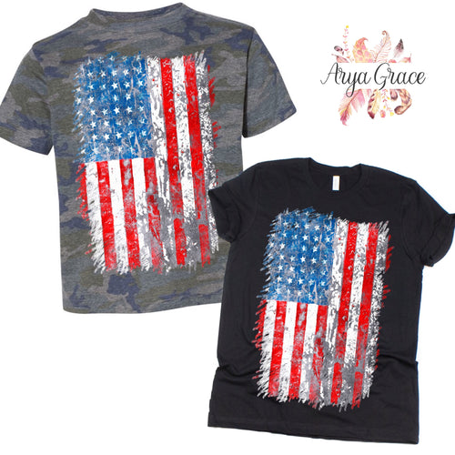 Distressed American Flag Graphic Tee {Adult}