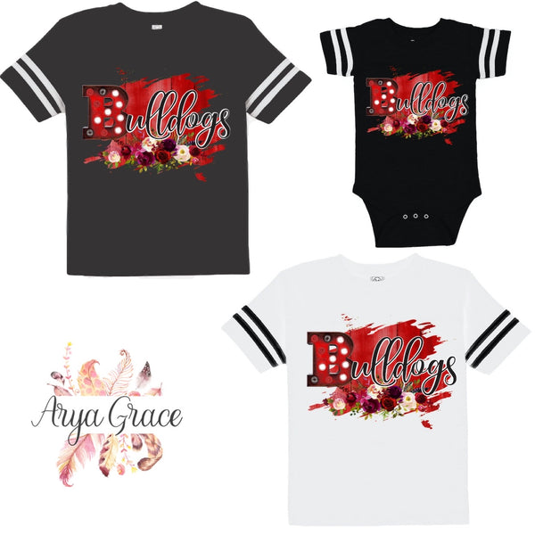 Floral Bulldogs Football Style Graphic Tee {Infant/Toddler/Youth}