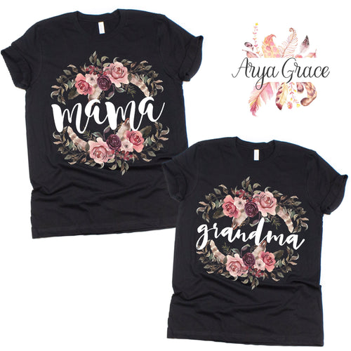 Mauve Boho Floral Black Graphic Tee {Adult Sizing}
