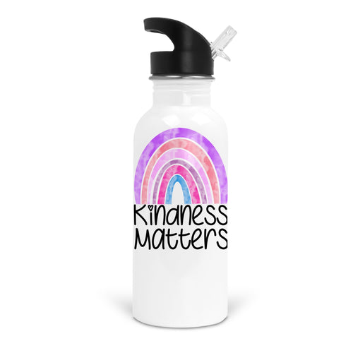 Watercolor Rainbow Kindness Matters White Stainless Steel 20oz Water Bottle with Stem/Straw Top