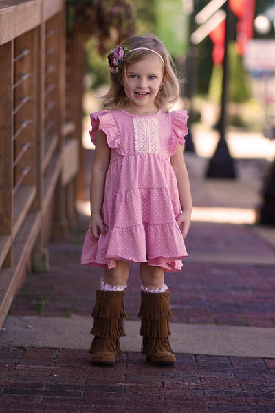 Blushing Mauve Dot Isabella Dress