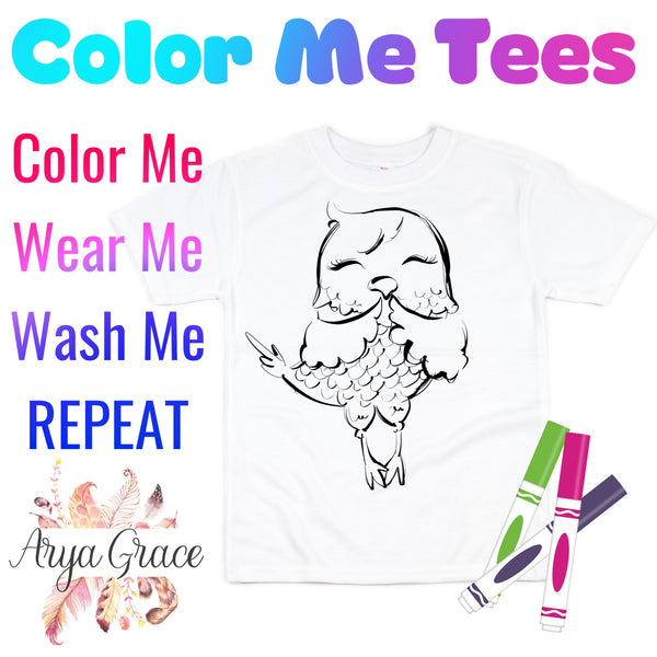 Owl Color Me💙Graphic Tee {Toddler/Youth Sizing}