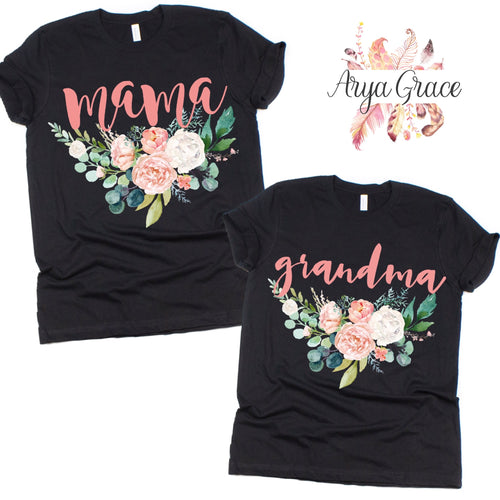 Peach Floral Black Graphic Tee {Adult Sizing}