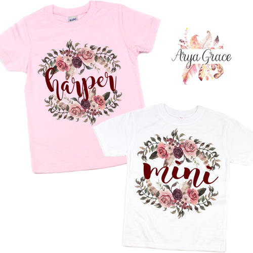 Mauve Boho Floral Graphic Tee {Infant/Toddler/Youth Sizing}