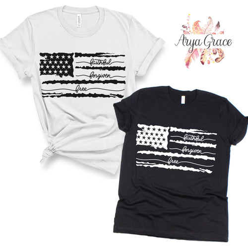 Faithful Forgiven Free Flag Graphic Tee {Adult}