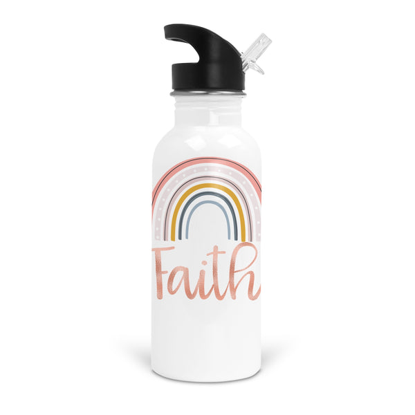 Rainbow Faith White Stainless Steel 20oz Water Bottle with Stem/Straw Top