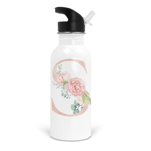 Floral Rose Gold Initial White Stainless Steel 20oz Water Bottle with Stem/Straw Top