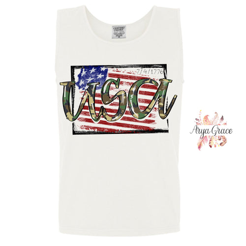 7/4/1776 American Flag USA Camo Font Graphic Tee {Adult}
